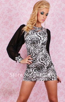 2012 NEW /Free shipping/Catch Fashion One Sleeve Mini dress with Lace Red,white,black LC2379