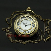 Good Gift TOPSHOP Vintage Bronze Anthemion Pocket Watch Necklace