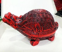 The old Chinese Carved Flower Red Cinnabar Lacquer turtle statue
