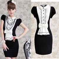 Женское платье Women's white red poker batwing sleeve sweater one-piece dress #A18