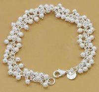 wholesale 925 Silver beads   Lady bracelet 8inch 5pcs mix green box+bag N49