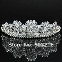 Free Shipping High Quality Austrian Crystal Silver Plated Fashion Design Jewelry Accessory Bridal Wedding Crown