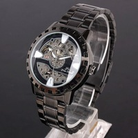 Occasion Wear Black Paint Bracelet Gear Mech Black Face Mens Mechanical Watch Water Resist NT7337