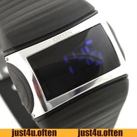 Fashion Black  Rubber Case & Band  Blue LED Digital Quartz Watch Sport Unisex New IW946