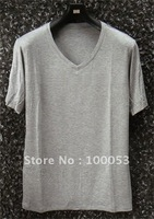 Free Shipping 100 Pieces Bamboo Fiber Men's V-neck T-shirts