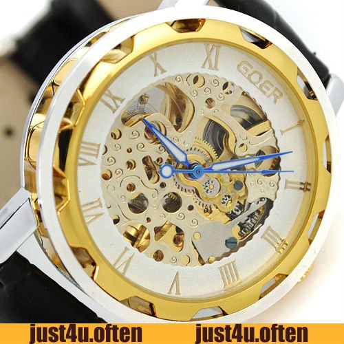 New Dress Golden Design Skeleton Case Mens Gent Automatic Wrist watch IW2043(China (Mainland))