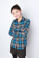 Plaid Shirt women skinny cotton sky blue check long sleeve shirt 001