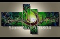 Framed 4 Panels 100% Handpainted Huge Wall Art Green Abstract Oil Painting Canvas Art Set Drop Shipping---- XD00107