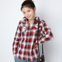 Women skinny Plaid Shirt cotton long sleeve shirt red and white check black 004