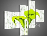 Framed 4 Panels 100% Handpainted Huge Wall Art Green Modern Flower Oil Painting on Canvas Painting Picture--XD00113