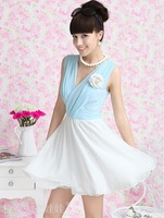 2012 spring new blue and white mosaic V-neck folds OL temperament Chiffon Dress