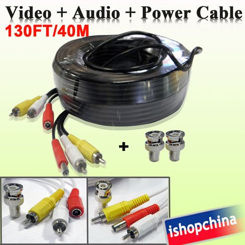 1 x 40M/130FT Audio Video Power AV Black Cable w Free BNC Connector for DVR CCTV Security Surveillance Camera(China (Mainland))