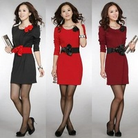 Free shipping 2013 spring and summer hot sale full sleeve elegant 3 colors/lot women's Bridesmaid Dress
