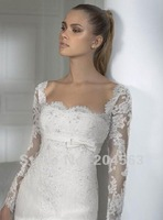Free Shipping Strapless Lace Bridal Wedding Dress with Long Sleeve and Bow any size/color