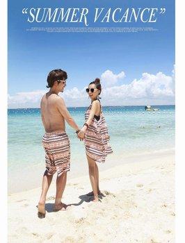 swimwear couple free shipping summer lover in honey moon skirt+men trunks 2pcs one set