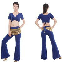 Free Shipping + gifts hot-selling Belly Dance costume set wear with the gifts of breast pad 3pcs/lot blue