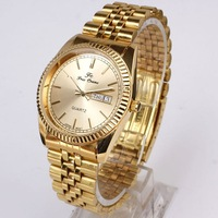 Wholesale 6pcs Lot Luxury Golden Face Day Date Stainless Steel Gold Watch Stl Men Quartz NT7090