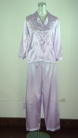 Free Shipping purple Women's Pyjama Robe Faux Silk 2pc Nightwear Robe Bath Gown Wholesale Retail S M L XL XXL (S0050)
