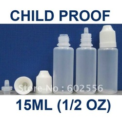 Lot 100 Pcs 15 ml 1/2 OZ Plastic CHILD PROOF childproof Dropper Bottles LDPE Dispense Liquids EYE DROPS E CIG OIL(China (Mainland))