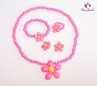 Baby Flower Necklace & Bracelet&Ring Sets Pink Children Jewelry Online Cute Beads Kids Jewelly Child Plastic Pearl Jewelry