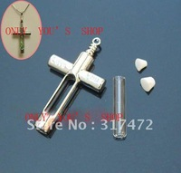 FREESHIPPING!!! 200pcs/LOT  Mental  Cross Shape with Glass Tube Perfume Oil Vial Pendant