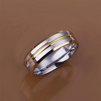 Free shipping retail wholesale 925 Silver gem-set interval golden streak ring fashion jewelry  ring .Best for  Xmas gift