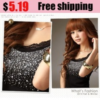 Free Shipping 2012 New Hot  Ladies lace beaded Cotton Tank Tops Vest T-shirt 5colors dropshipping 8920