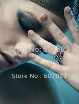 Free shipping, 10 pcs/lot, Slit Couple Ring, Snake Swaro** Crystal lover's Ring, gold plated, High Quality, hotsale! fashion