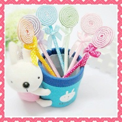 Free Shipping by EMS Hot Wholesale Lollipop Ballpen/Lollipop Ballpoint Pen Cartoon Pen Ballpen-5 Colors(China (Mainland))