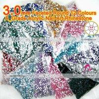 12color 3.0mm flat back round nail rhinestones (21 colors available) 240000pcs 12bags acrylic nail art rhinestones-Free Shipping