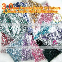 12color 3.0mm flat back round nail rhinestones (21 colors available) 240000pcs 12bags acrylic nail art rhinestones-Free Shipping