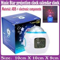 3pcs/Lot_Music Star projection clock calendar clock_Free Shipping