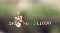 Promotion Price! 2012 Hot Fashion joker sweet bowknot drops necklace Free Shipping
