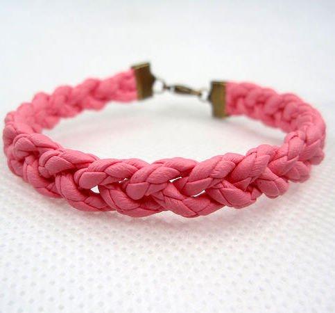 Pink braided leather bracelet