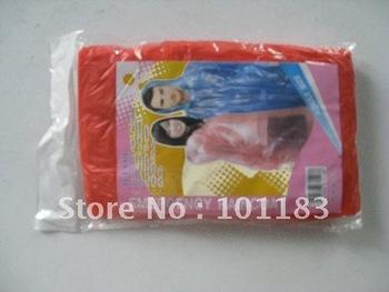 Red 0.02mm fashion foldable  PE Raincoat /Disposable Raincoat