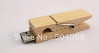 Wood clamps 8GB USB 2.0 Flash Drive Stick Creative U disk Guaranteed full 8G Cartoon memory Pen Drive Card Key New Hot