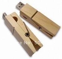 Wood clamps 32GB USB 2.0 Flash Drive Stick Creative U disk Guaranteed full 32G Cartoon memory Pen Drive Card Key New Hot