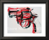 Hot Deal! Canvas oil painting,Gun, c.1981-82 (black and red on white) by Andy Warhol,size:20X24Inch,100%handmade,free shipping