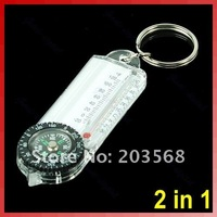 Mini 2 in 1 Outdoor Camping Hiking Compass Thermometer Temperature Keyring