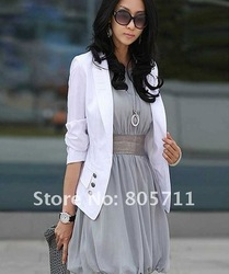 Lower Price Promotions White Black Beige Colors Lapel One Button Small Suit women's Business Suits Short Coats Hot Sale(China (Mainland))