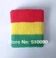 100%cotton RASTA REGGAE JAMAICA WRIST BANDS SWEATBANDS SWEAT BANDS red yellow green