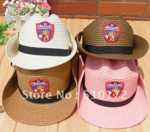 Fashion baby summer Straw hat, kids straw jazz cap, children topee, baby sun cap, baby cowboy hat, 10pcs/lot free shipping(China (Mainland))