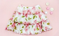 2013 New 5-6X 3pcs/Lot Girls' Lace Floral Summer Skirt /Short Skirts/Waist Skirt, Princess Dress