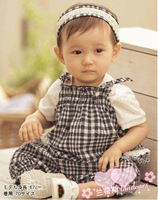 18M-4Y Baby Romper/ Infant & Toddle Bodysuits-Black & White Check With Headband,Free Shipping 5pcs/lot