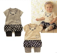Baby Girl Romper/ Infant Short-Sleeve Skirt Like Bodysuits-Grey Beige Free Shipping 5pcs/lot