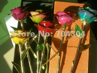 real rose dipped in 24k Gold + giftboxes+12inch length real rose dipped in 24k gold for Valentine's Day Gift