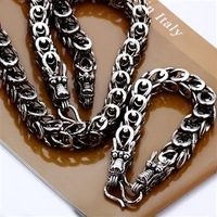Free shipping amazing 925 Silver new black dragon chain set  jewelry set necklace bracelet  Xmas gift