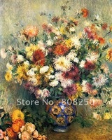 Free  Shipping !! Vase of Chrysanthemums II-Oil Painting Reproduction On Canvas PAR120