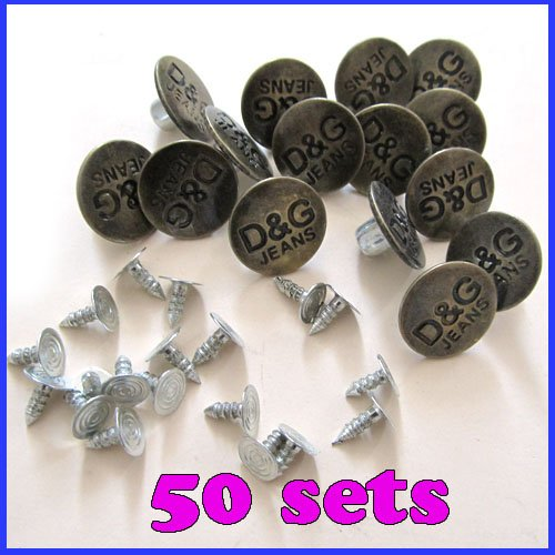 50 sets/lot,Jean Stud Buttons Bronze With Pins Metal Hammer On Snaps Denim Tool Repair,free shiping(China (Mainland))