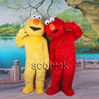 2Pcs of Yellow Doll & Street Elmo Red  Mascot Costume Character Adult Size Fancy Dress 4 Sale